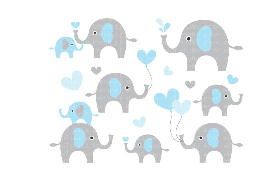 Cute elephants clipart.