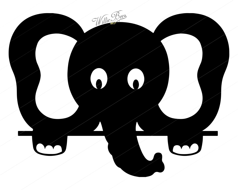 Peeking Elephant Silhouette Clipart