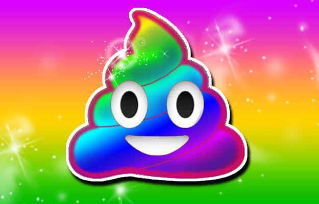 Rainbow poo emojis.