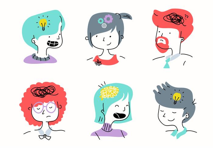 Emotion clipart character. People mind cartoon vector