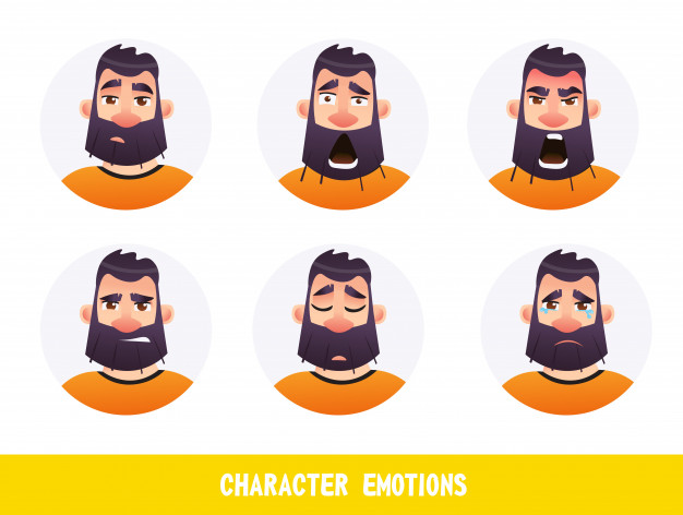 Emotion clipart character. Emotion clipart character. Poster inscription emotions cartoon