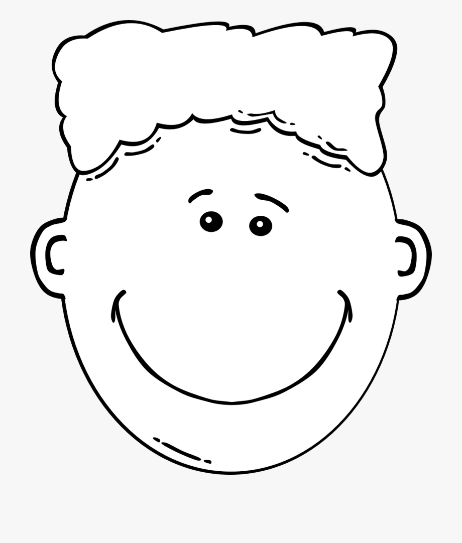 Faces clipart white. Boy face black line