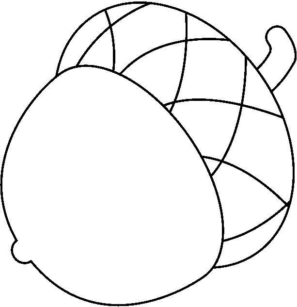 fall clipart black and white acorn