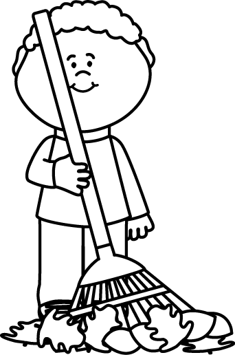 Fall clipart black and white boy. Raking autumng leaves clip