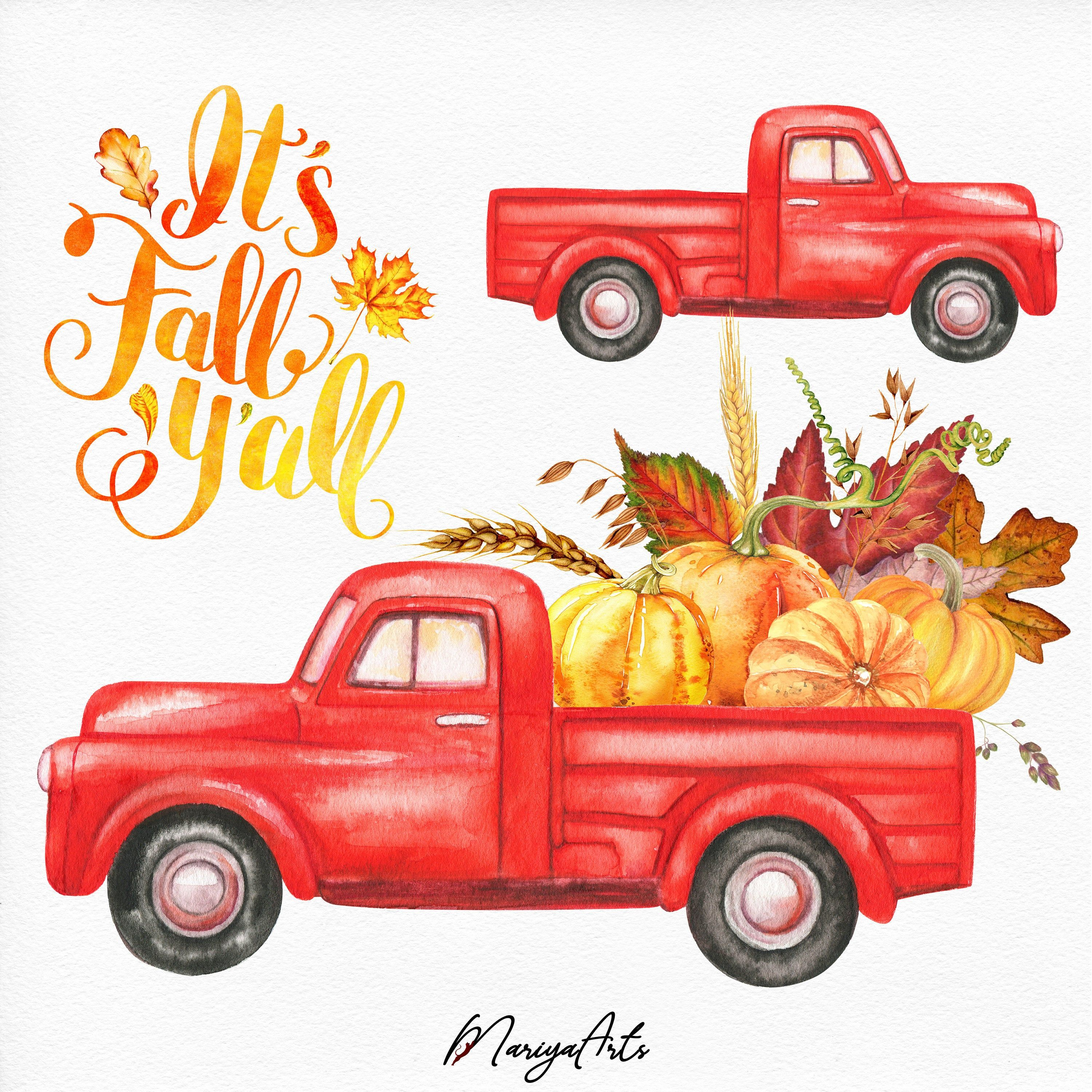 Fall clipart black and white vintage truck pictures on ...