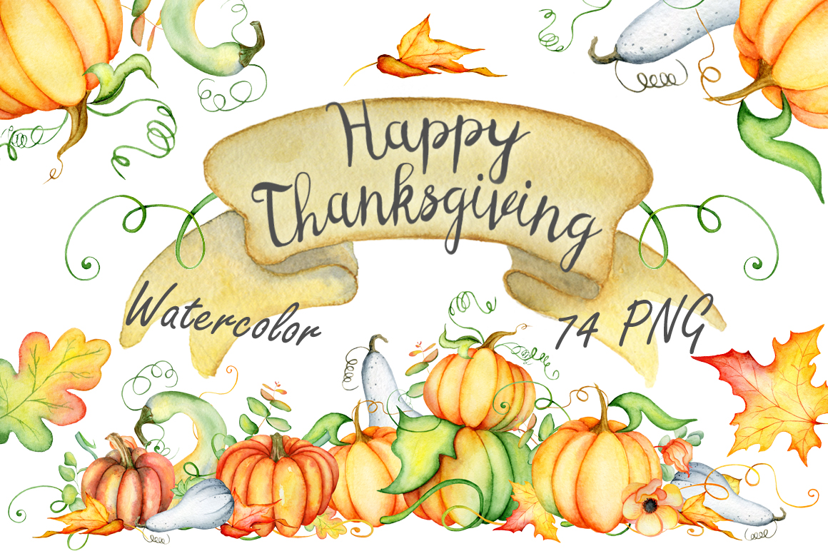Fall clipart thanksgiving. Pumpkins watercolor autumn in