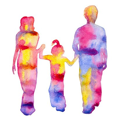 Family colored silhouette.