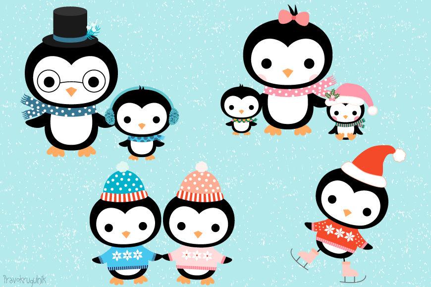 Cute penguin family.