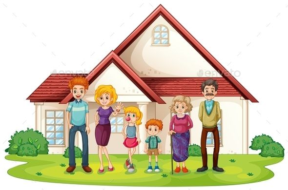 Family clipart house. In front of their