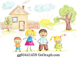 Family clipart house. Clip art royalty free