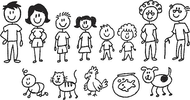 Stick figure family clipart