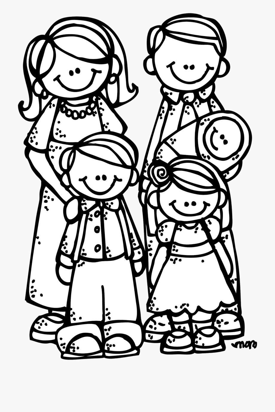 Family clipart white. Melonheadz lds illustrating black