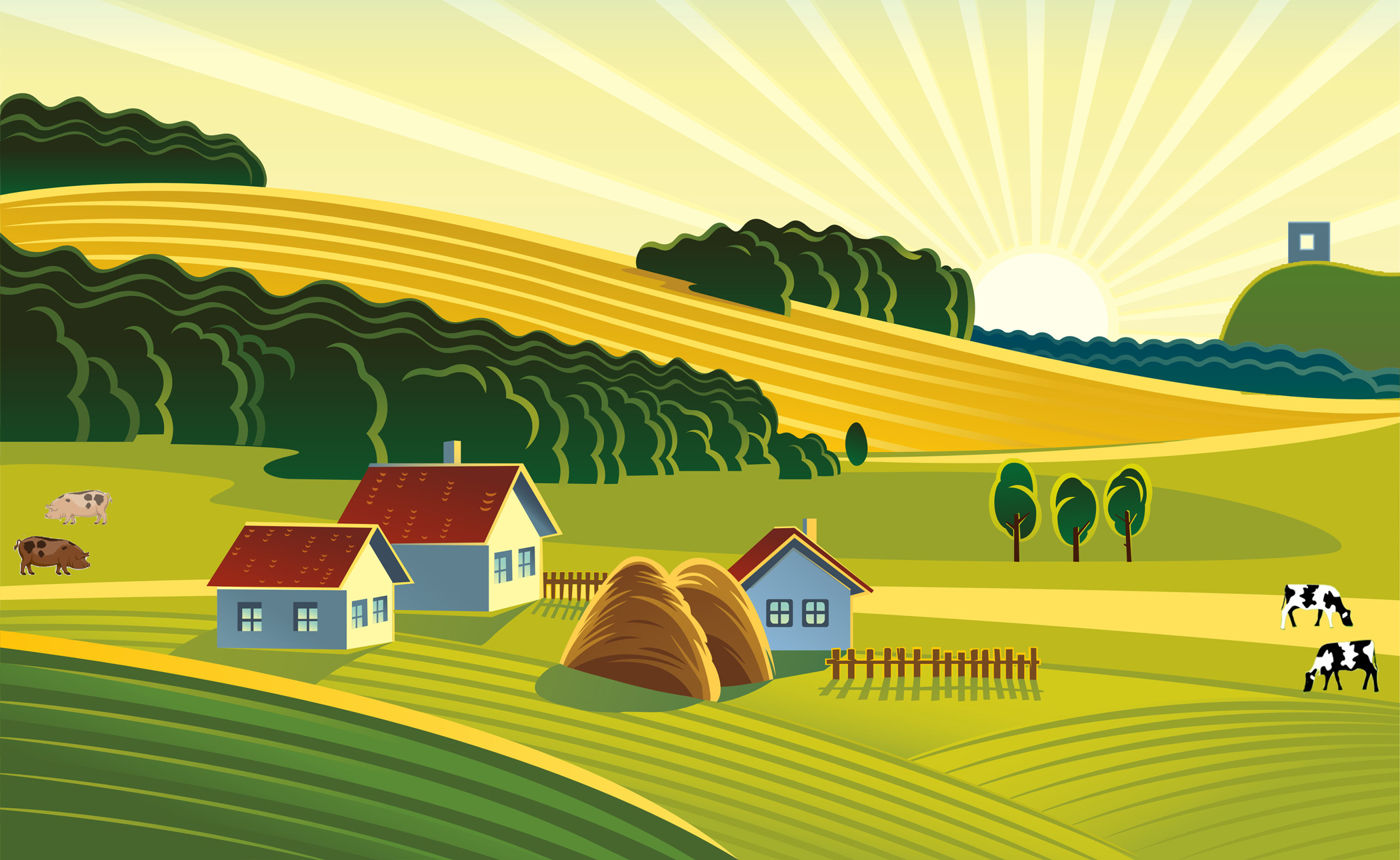 Farm field clipart.