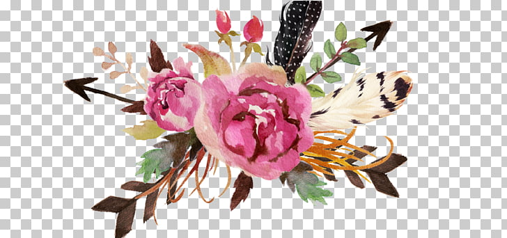 Floral design Feather Flower Watercolor painting, creative