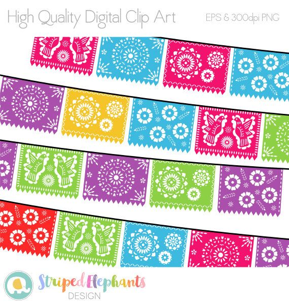 Fiesta banner clipart colorful. Papel picado digital mexican