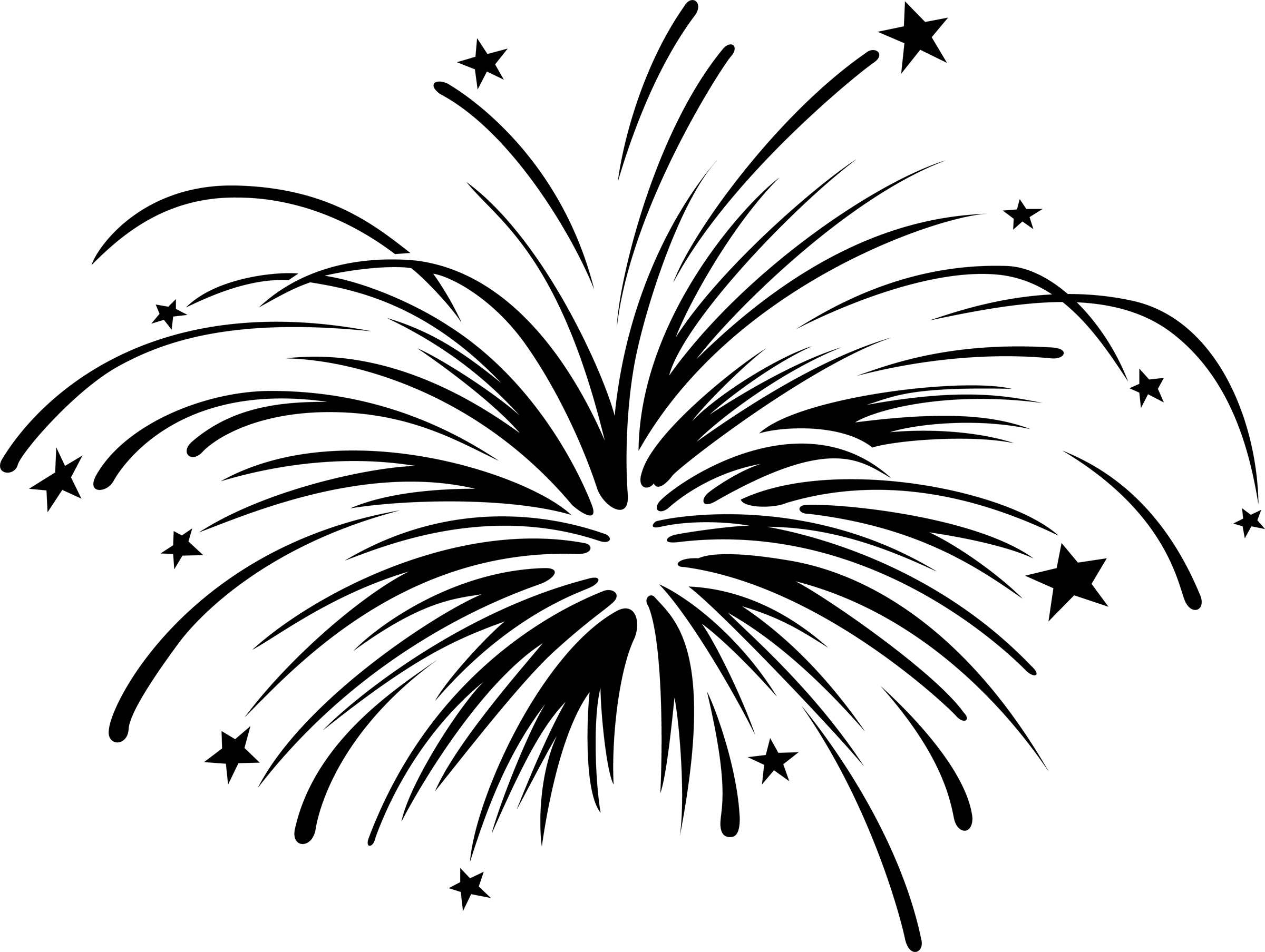 Fireworks clipart black.
