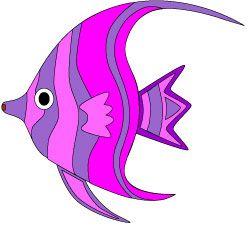 Pretty colorful tropical fish clip art in shades of purple