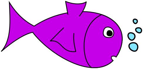 Fish w bubbles purple