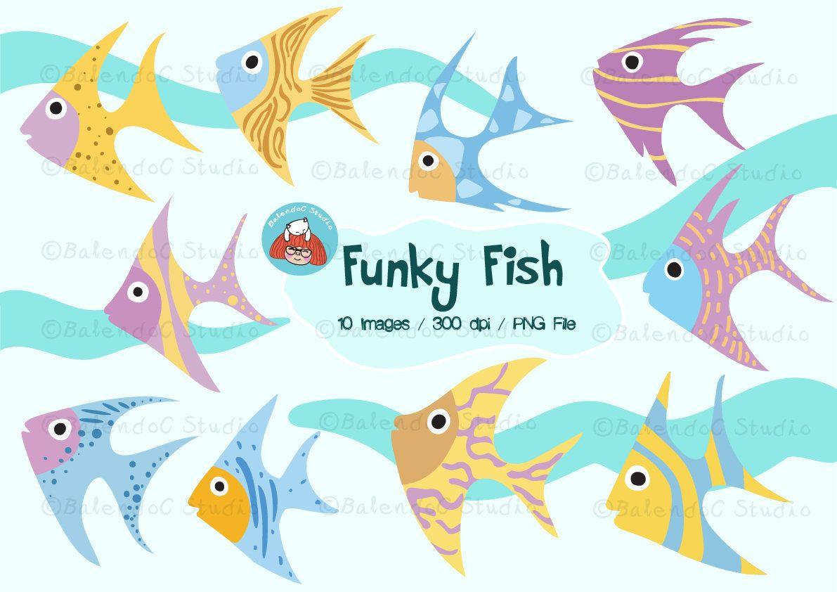 Fish Clipart, Sea Fish Clipart, Ocean Fish Clipart, Vector
