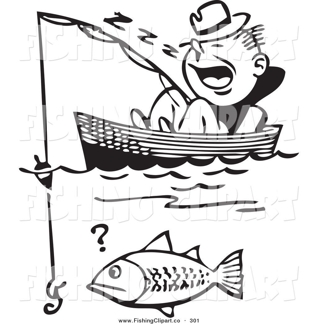 Clip Art of a Retro Black and White Man Sleeping in a Boat