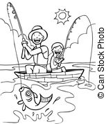 fishing clipart black and white father son