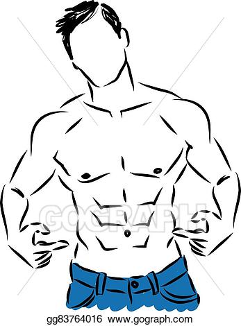 Fitness clipart male. Vector illustration man showing