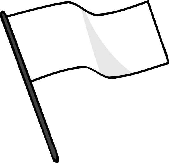 Waving white flag.