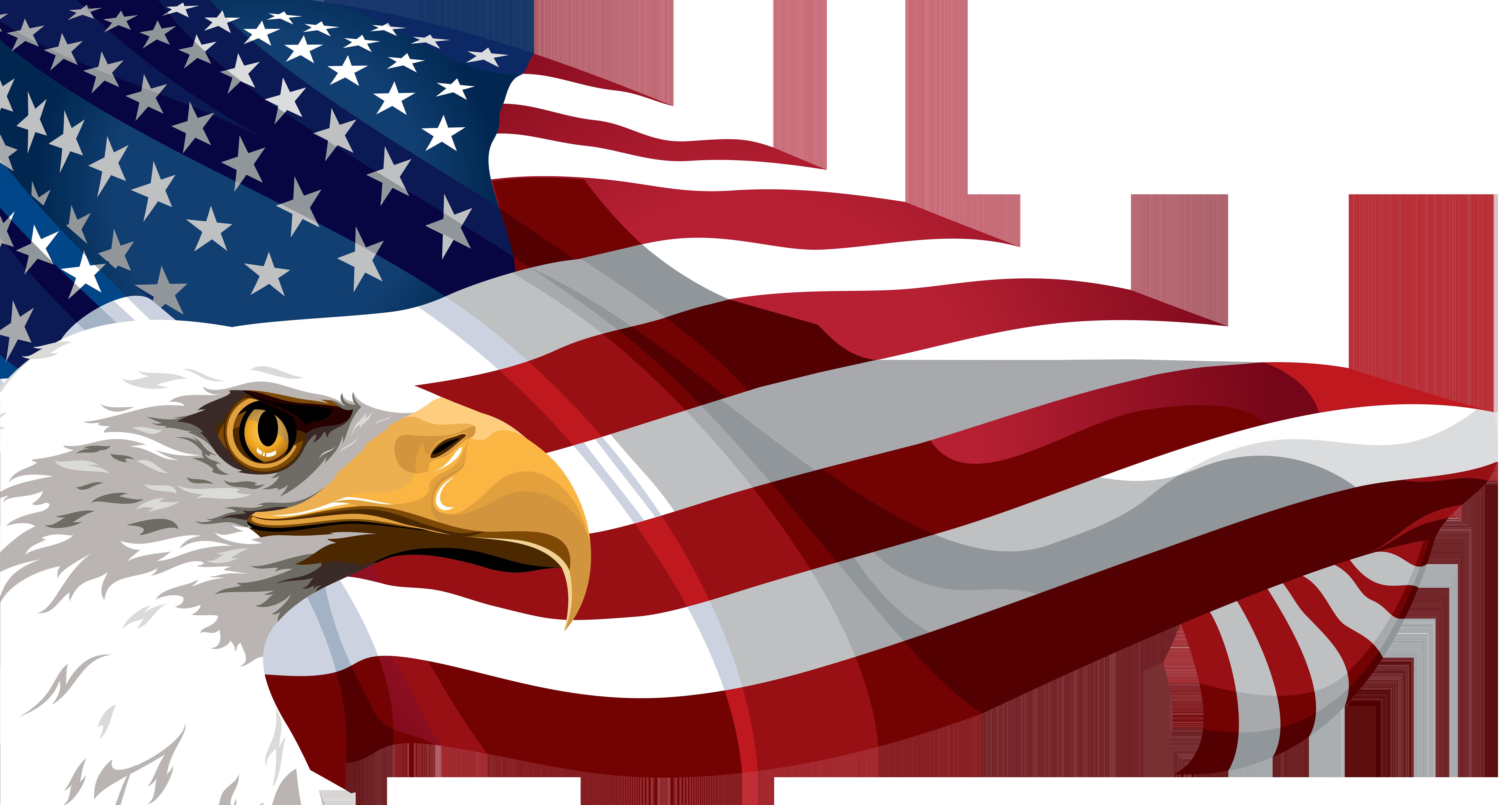 American flag and eagle.