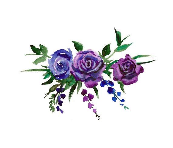 Watercolor bouquet flowers.
