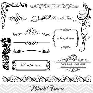 Black Frame Border Clipart, Flourish Swirl Frame Clip Art, Scrapbook  Embellishment