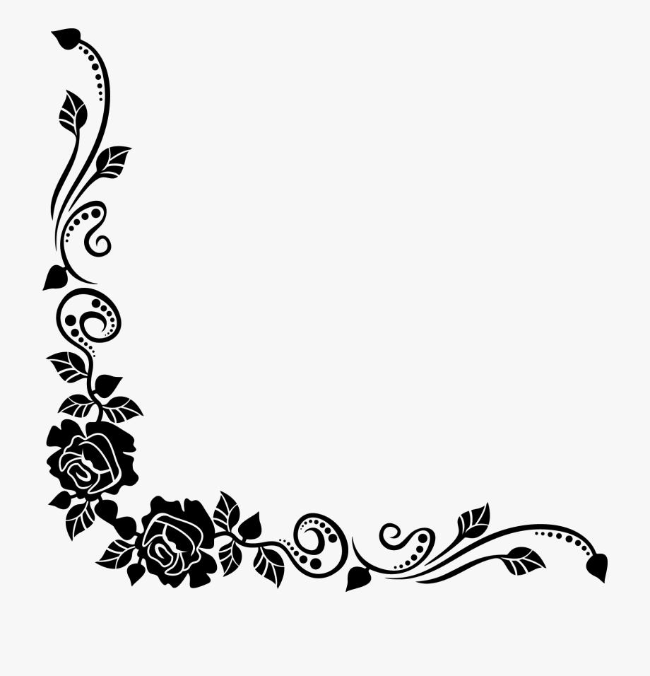 flower clipart black and white corner