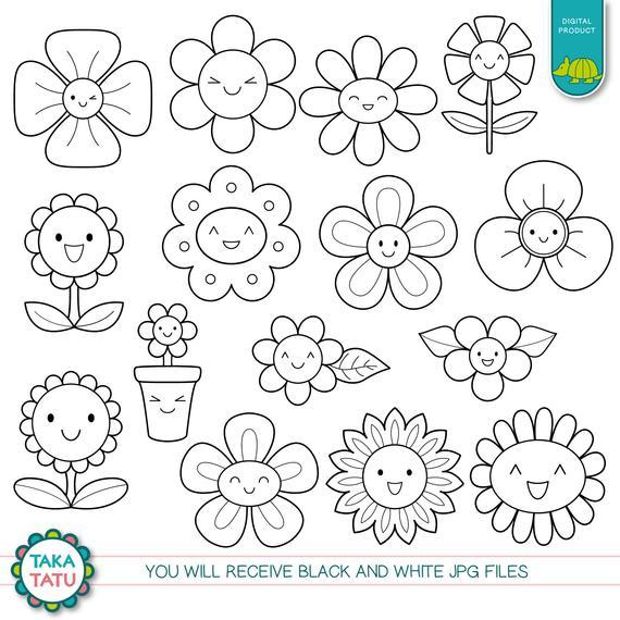 Kawaii Flowers Digital Stamp