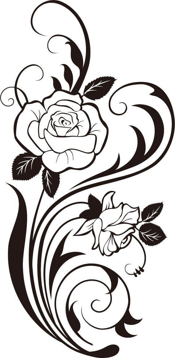 Rose silhouette flower.