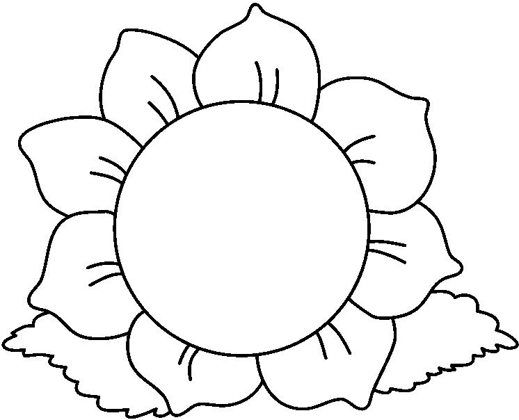 Sunflower black and white flower clipart black and white