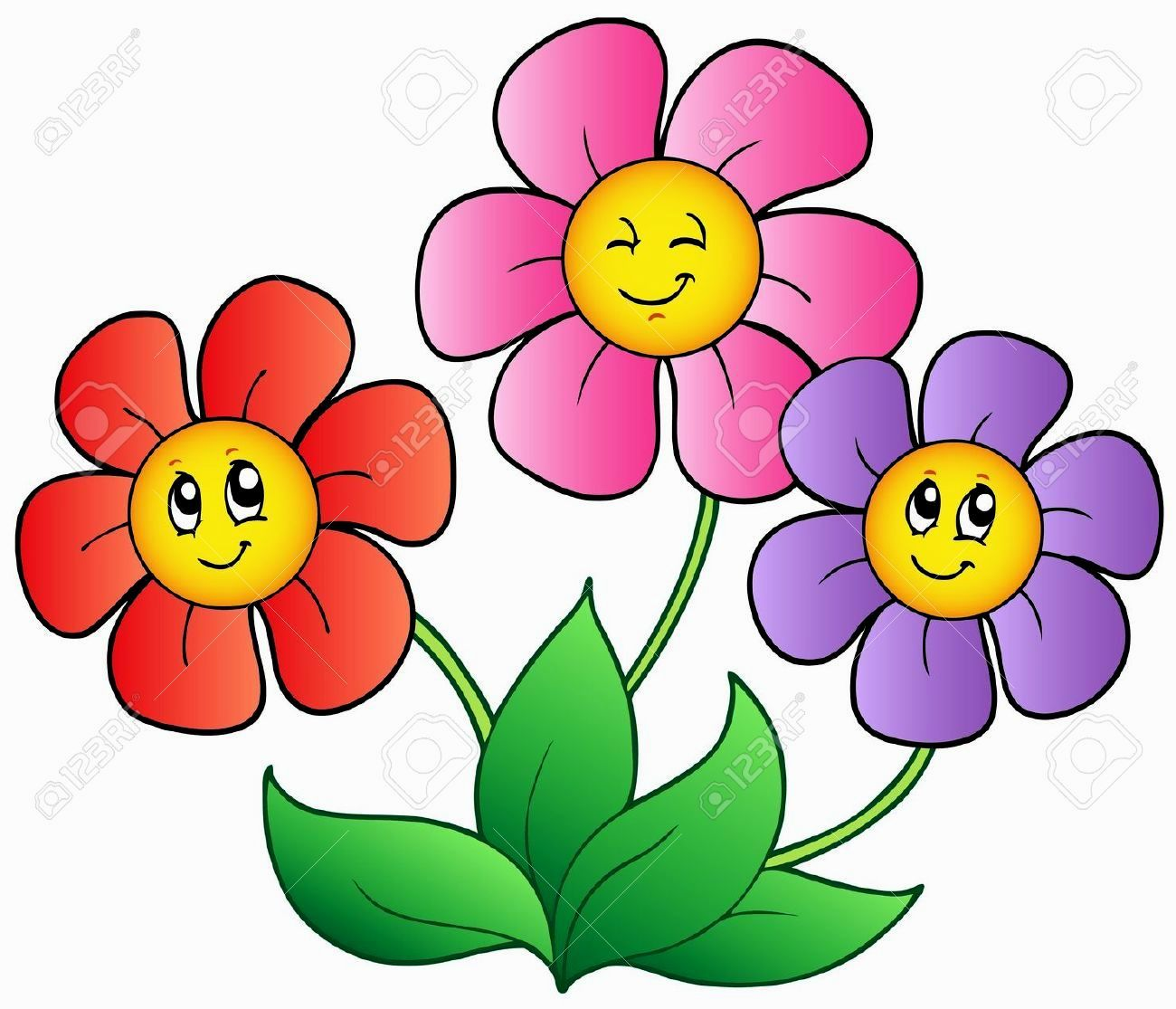 Pictures cartoon flowers.