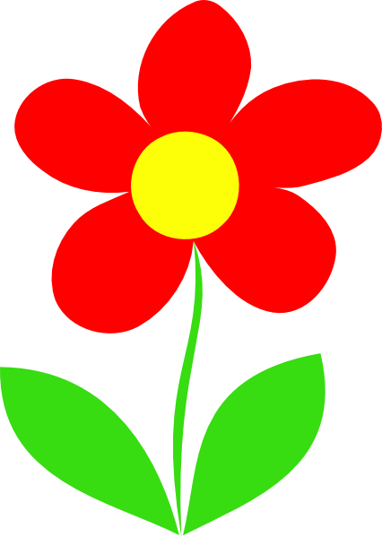 Flower With Stem Clipart Red in