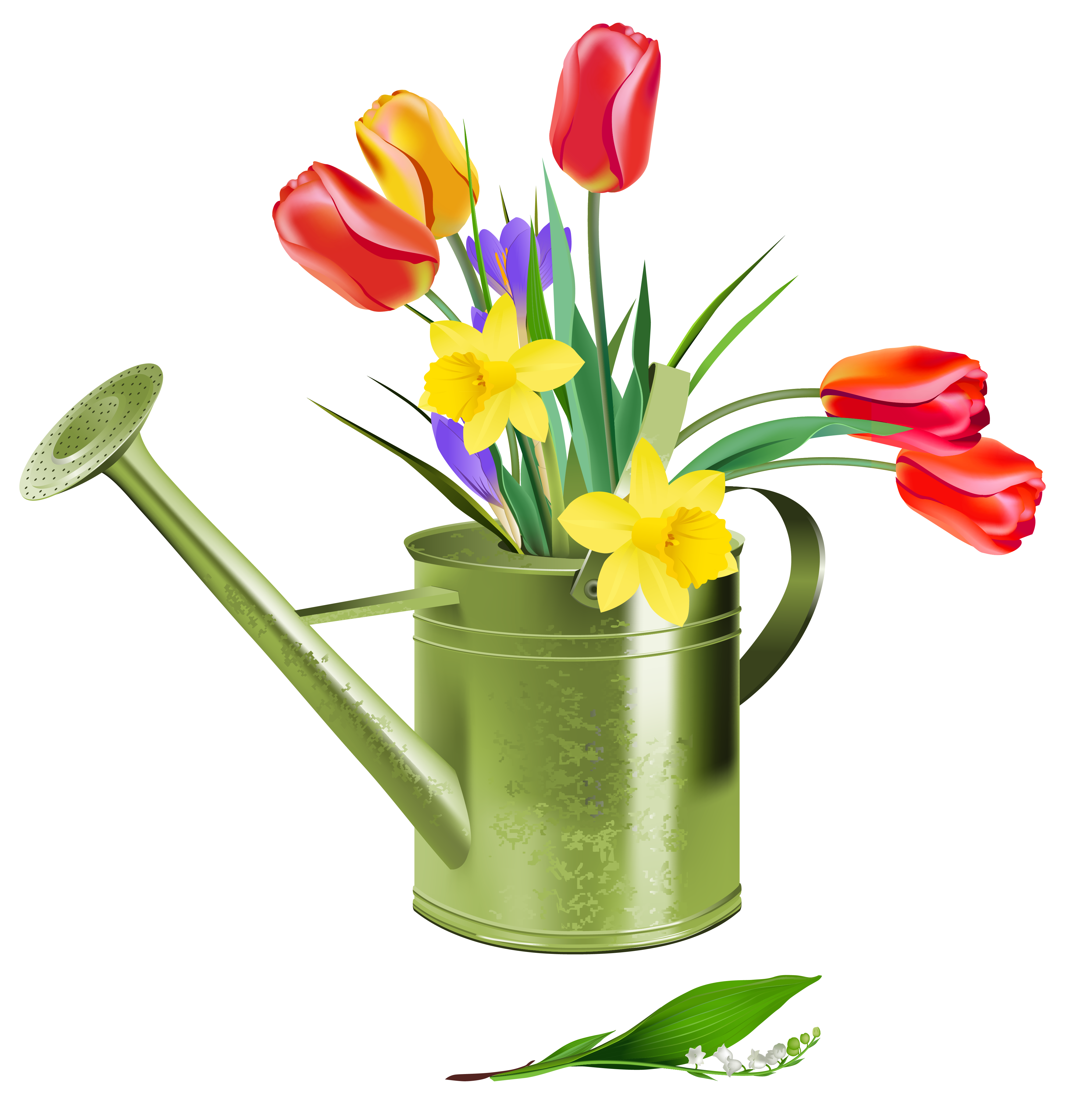 Green watering can with spring flowers clipart
