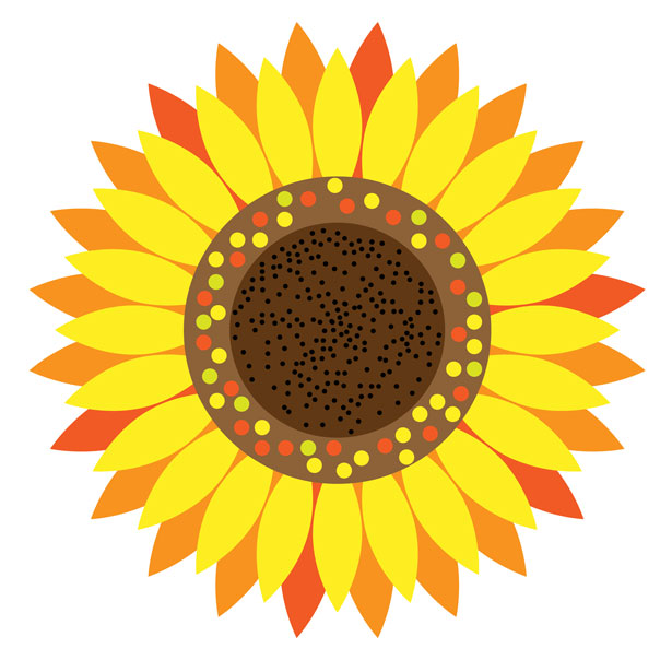 Sunflower floral clipart.