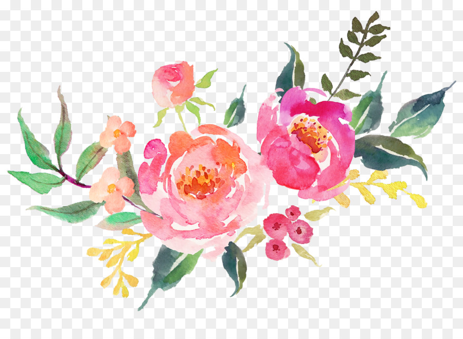 Watercolor pink flowers.
