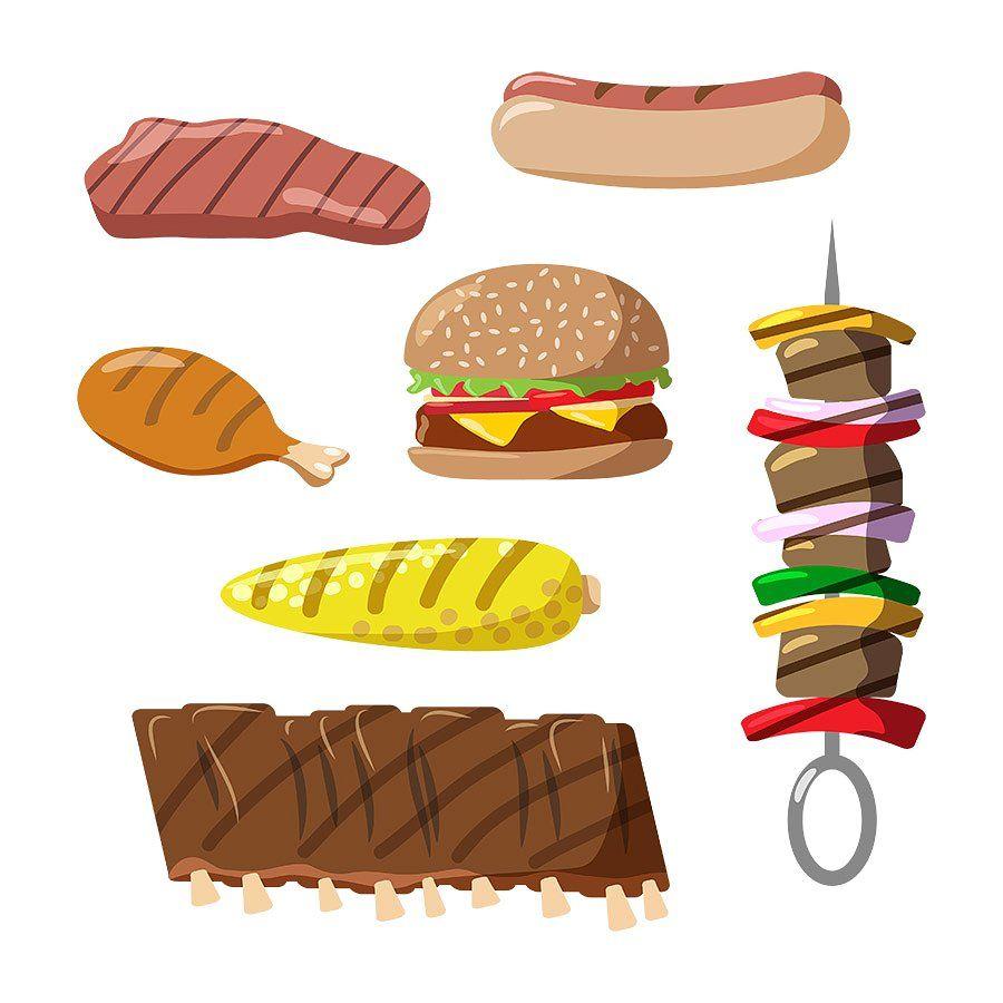 Food clipart bbq. Grilled hamburger includes set