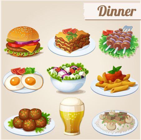 Tasty dinner icons.