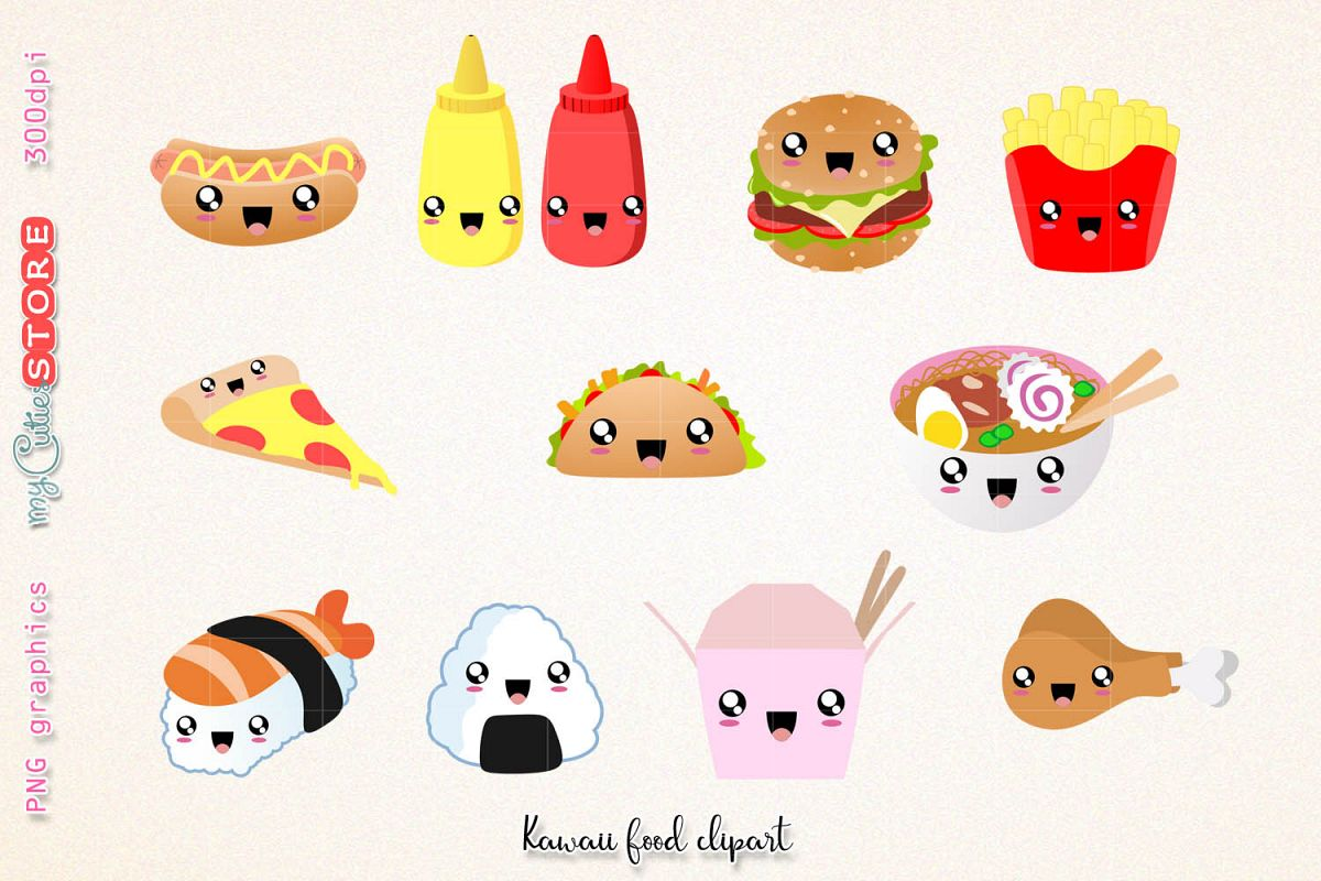Fast food clipart, cute kawaii dinner clipart and digital stamps