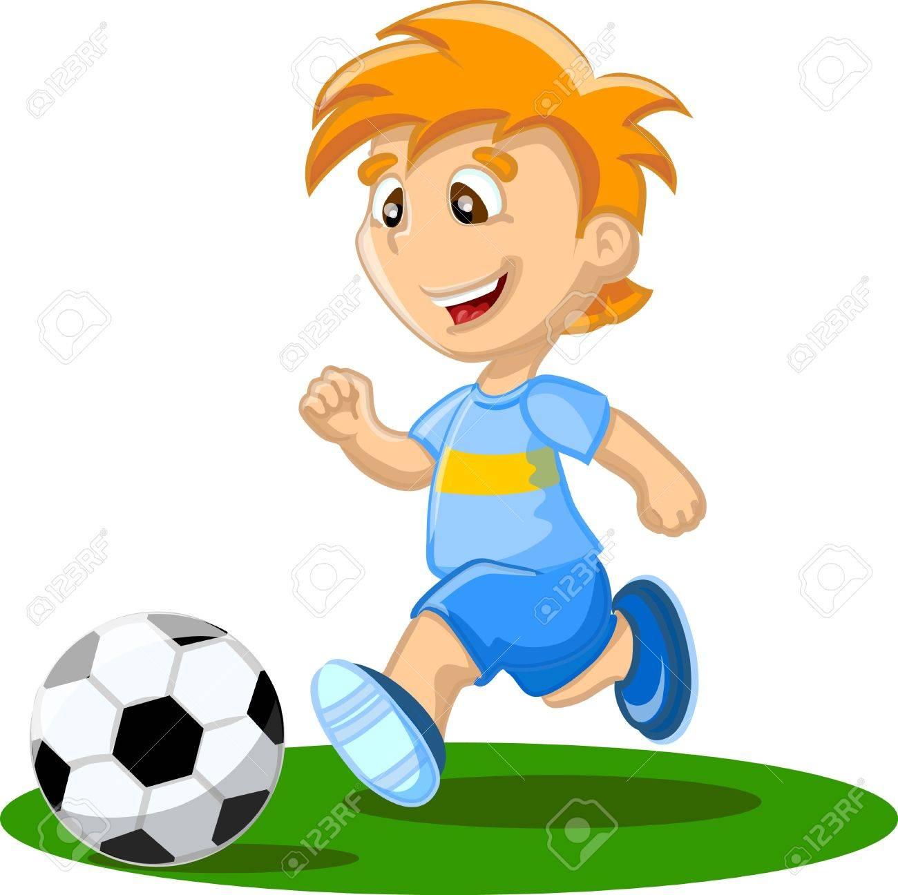 Boy play football.