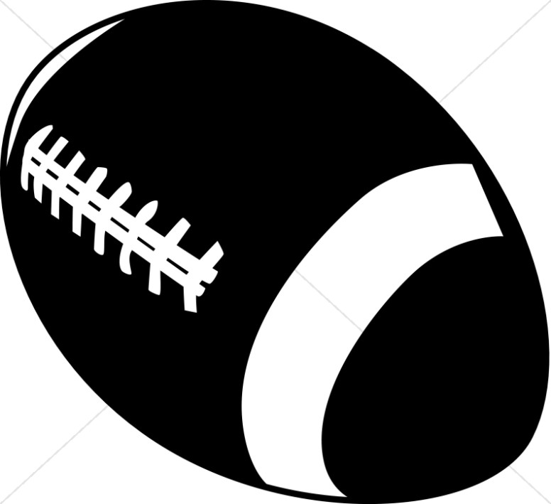 Black and White Silhouette Football