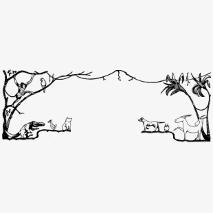 forest clipart black and white background