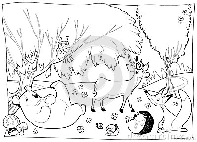 Forest clipart black and white coloring. Station