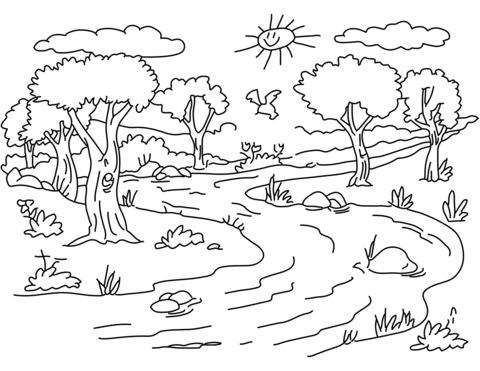 Forest clipart black and white coloring. River landscape page from
