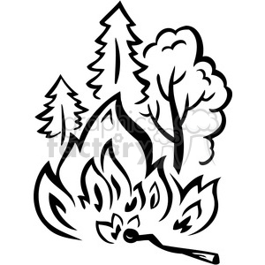 Forest clipart black and white illustration. Wild fire burning aces