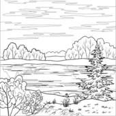 Forest clipart black and white illustration. Creek river clip art