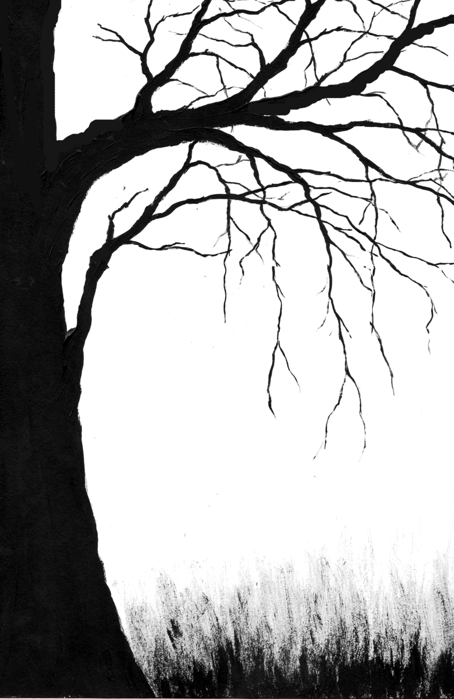 forest clipart black and white scary